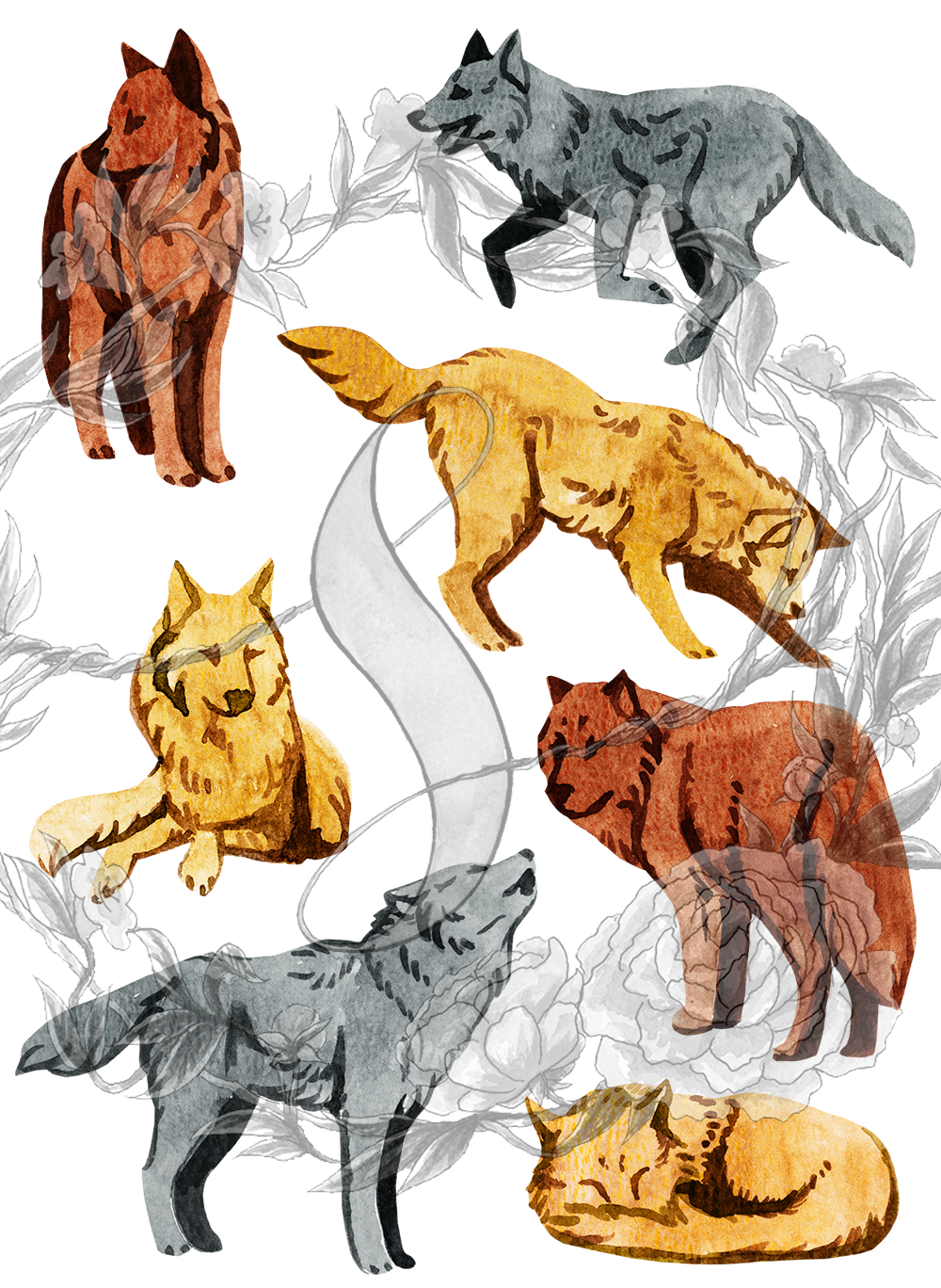 wolf stickers small sheet paper